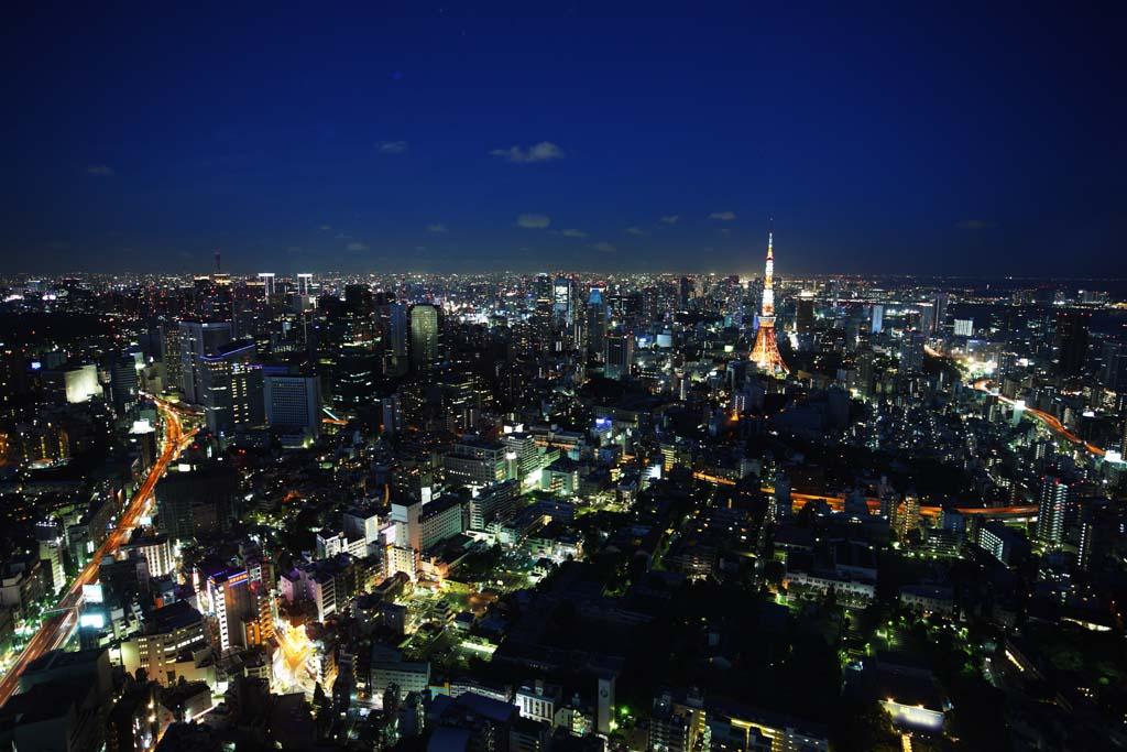 fotografia, materiale, libero il panorama, dipinga, fotografia di scorta,Tokio vista intera, Torre di Tokio, edificio a molti piani, L'autostrada Metropolitana, L'area del centro