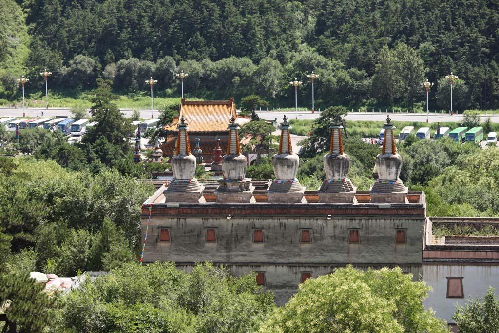 Foto, materiell, befreit, Landschaft, Bild, hat Foto auf Lager,Putuo Zongcheng-Tempel, Tibet, Chaitya, Ich bin herrlich, weißer Turm