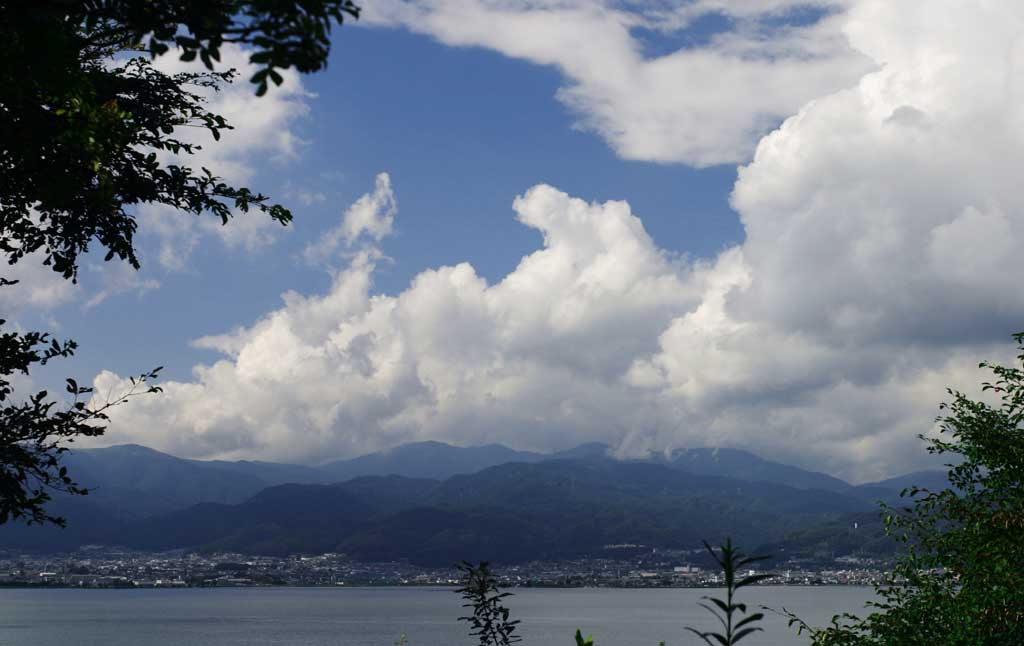 photo,material,free,landscape,picture,stock photo,Creative Commons,Suwa Lake in summer, cloud, blue sky, lake, mountain