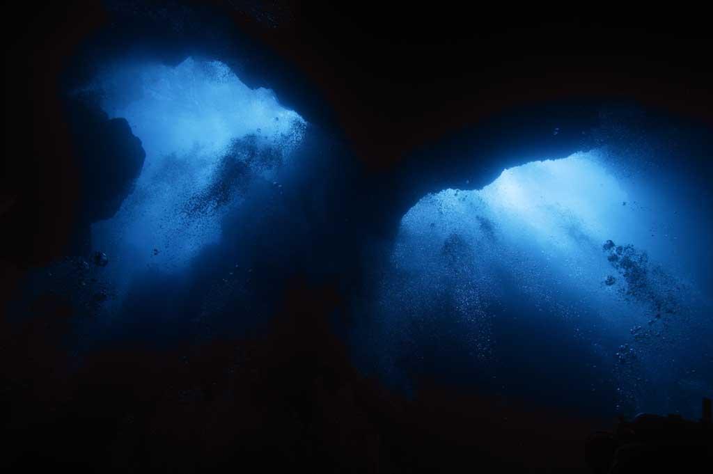 photo, la matière, libre, aménage, décrivez, photo de la réserve,Lever les yeux d'un abîme, caverne, plonger, mer, photographie sous-marine