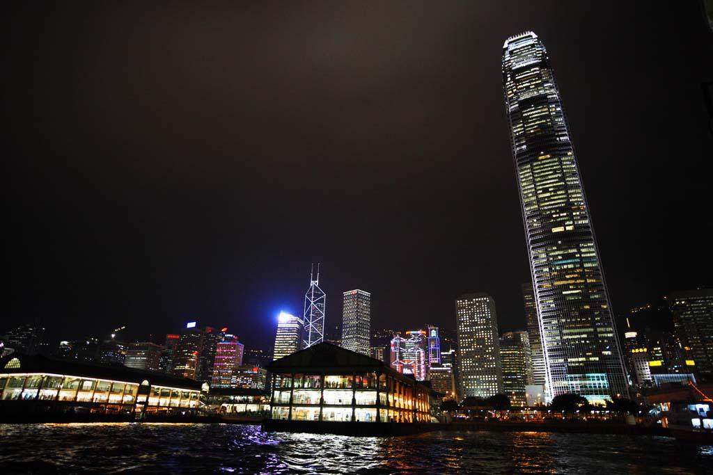 写真,素材,無料,フリー,フォト,クリエイティブ・コモンズ,風景,壁紙,香港の夜景, 超高層ビル, ビル, ネオン, 夜景