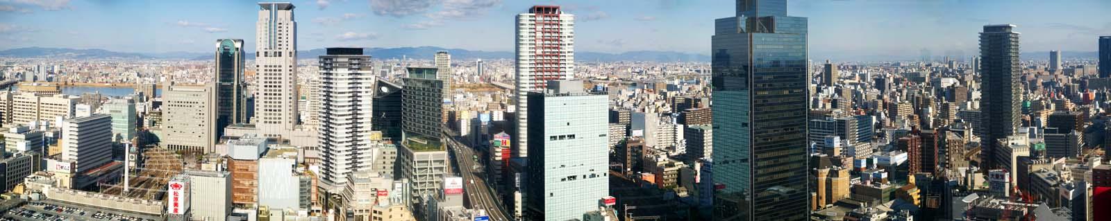写真,素材,無料,フリー,フォト,クリエイティブ・コモンズ,風景,壁紙,大阪パノラマ, 高層ビル, 線路, 阪神高速, 高層マンション
