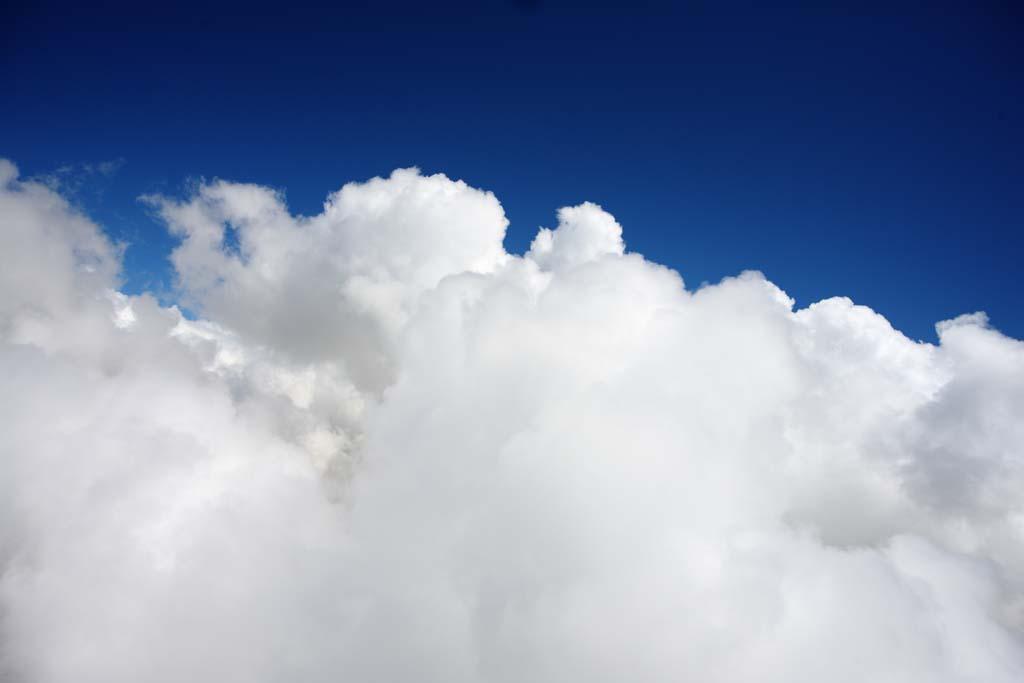 写真,素材,無料,フリー,フォト,クリエイティブ・コモンズ,風景,壁紙,ハワイ島 空撮, ブルー, 積雲, 南国, 澄み通る