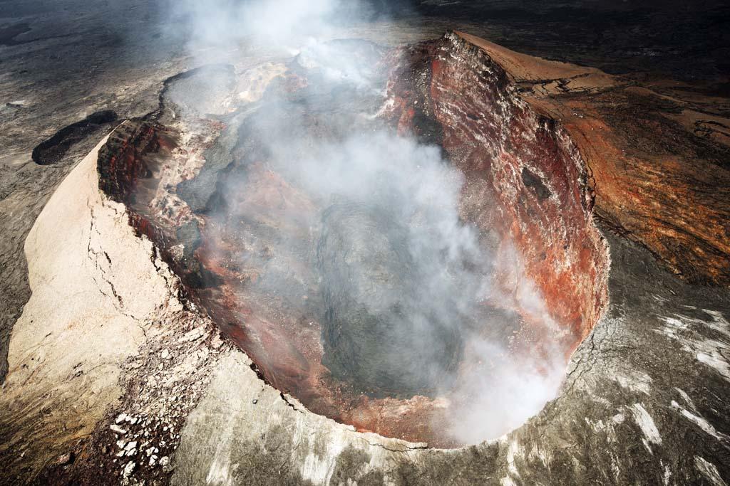 Foto, materiell, befreit, Landschaft, Bild, hat Foto auf Lager,Mt. Kilauea, Lava, Der Krater, Puu Oo, Rauch
