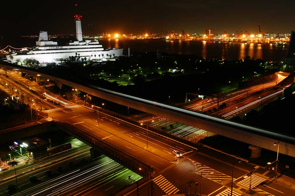 photo,material,free,landscape,picture,stock photo,Creative Commons,Night of Odaiba, headlight, lighting, sea, night