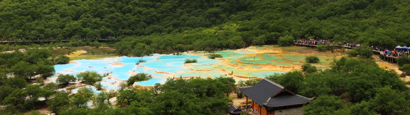 foto,tela,gratis,paisaje,fotografía,idea,Cinco colores Huanglong estanque, , , ,