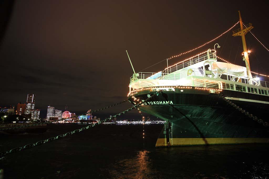 photo, la matière, libre, aménage, décrivez, photo de la réserve,Du Port de Yokohama dans la nuit, , , ,