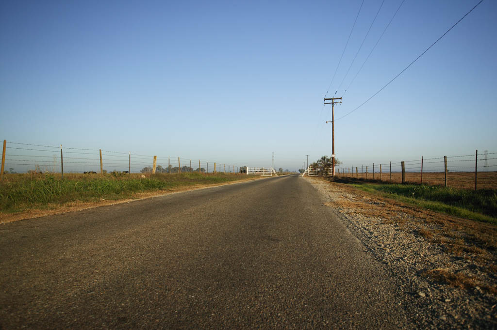 photo,material,free,landscape,picture,stock photo,Creative Commons,Farm road, ranch, Asphalt, telephone pole, fence