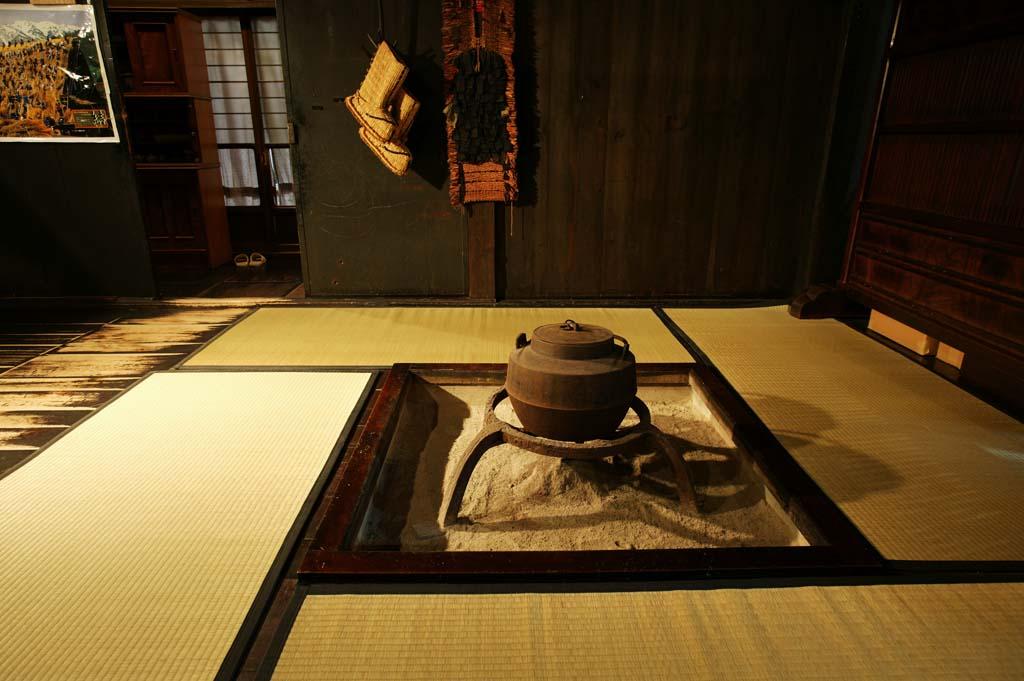 foto,tela,gratis,paisaje,fotograf�a,idea,Habitaci�n en chimenea, Habitaci�n japon�s -style, Tetera de hierro, Ceniza,