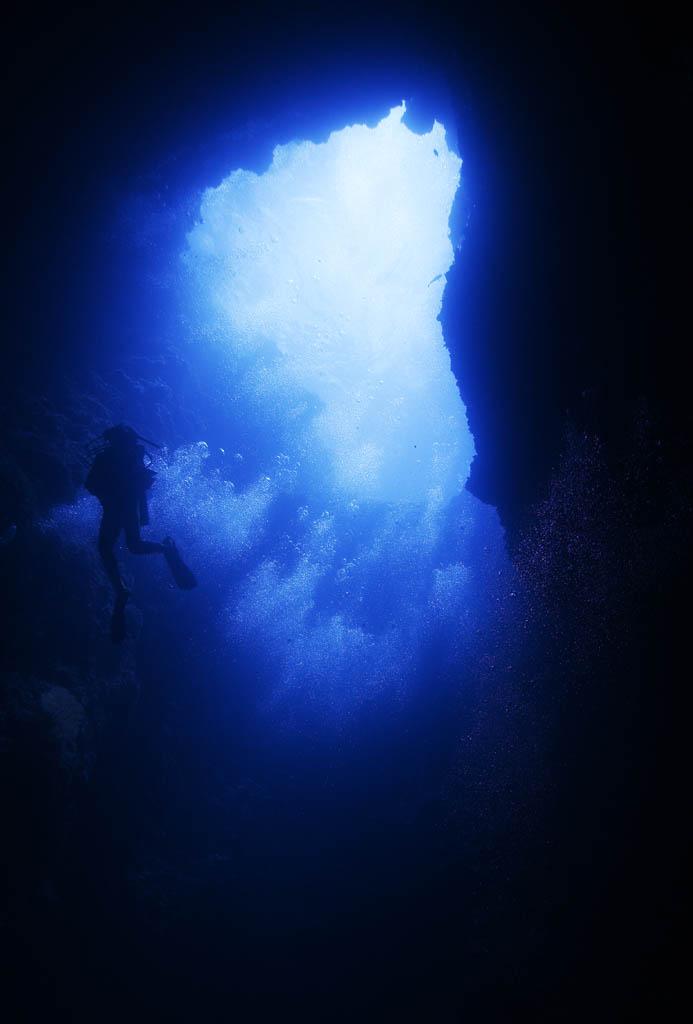 foto,tela,gratis,paisaje,fotografía,idea,Rayo de un salón azul, Cueva, Buceo, El mar, Fotografía submarina