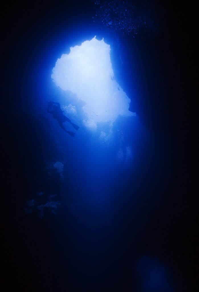 foto,tela,gratis,paisaje,fotograf�a,idea,Rayo de un sal�n azul, Cueva, Buceo, El mar, Fotograf�a submarina
