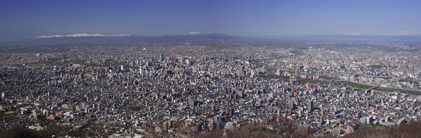 Фото, материальный, свободный, пейзаж, фотография, фото фонда.,Саппоро -shi sweep глаза., Хоккайдо, Обсерватория, Область города, Синее небо