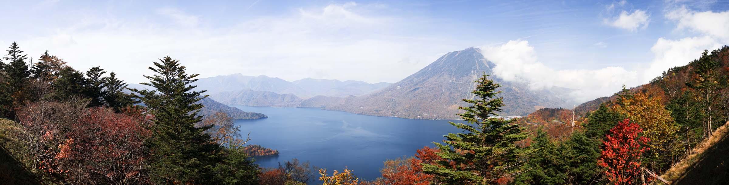 fotografia, materiale, libero il panorama, dipinga, fotografia di scorta,Lago Chuzenji-ko di foglie colorate, Lago Chuzenji-ko, Foglie colorate, Mt. figura maschia, cielo blu