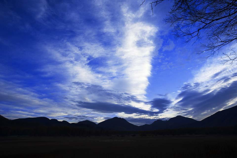 fotografia, materiale, libero il panorama, dipinga, fotografia di scorta,Mattina in Odashirogahara, cielo blu, nube, ridgeline, Sagoma