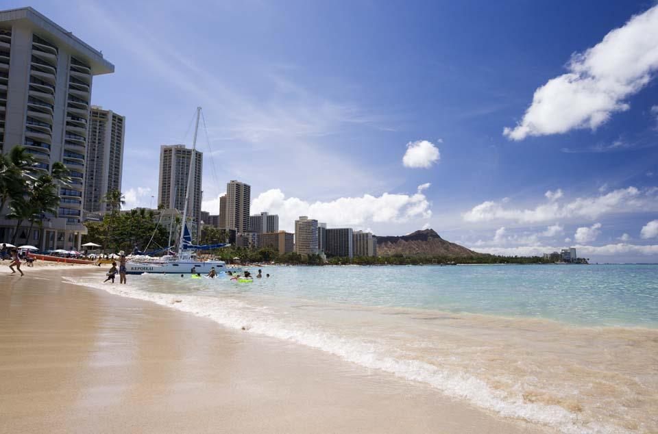 fotografia, materiale, libero il panorama, dipinga, fotografia di scorta,Waikiki arena, spiaggia sabbiosa, spiaggia, onda, cielo blu