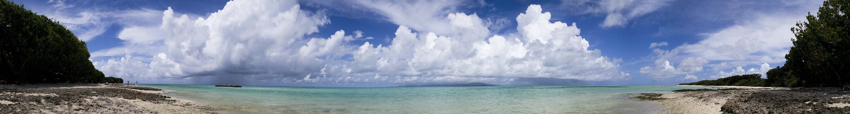 fotografia, materiale, libero il panorama, dipinga, fotografia di scorta,Spiaggia prospettiva intera di sabbia di una stella, panorama, nube, cielo blu, Verde di smeraldo