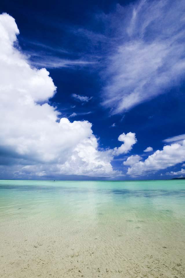 Foto, materieel, vrij, landschap, schilderstuk, bevoorraden foto,Een zuid land strand, Zandstrand, Blauwe lucht, Strand, Wolk