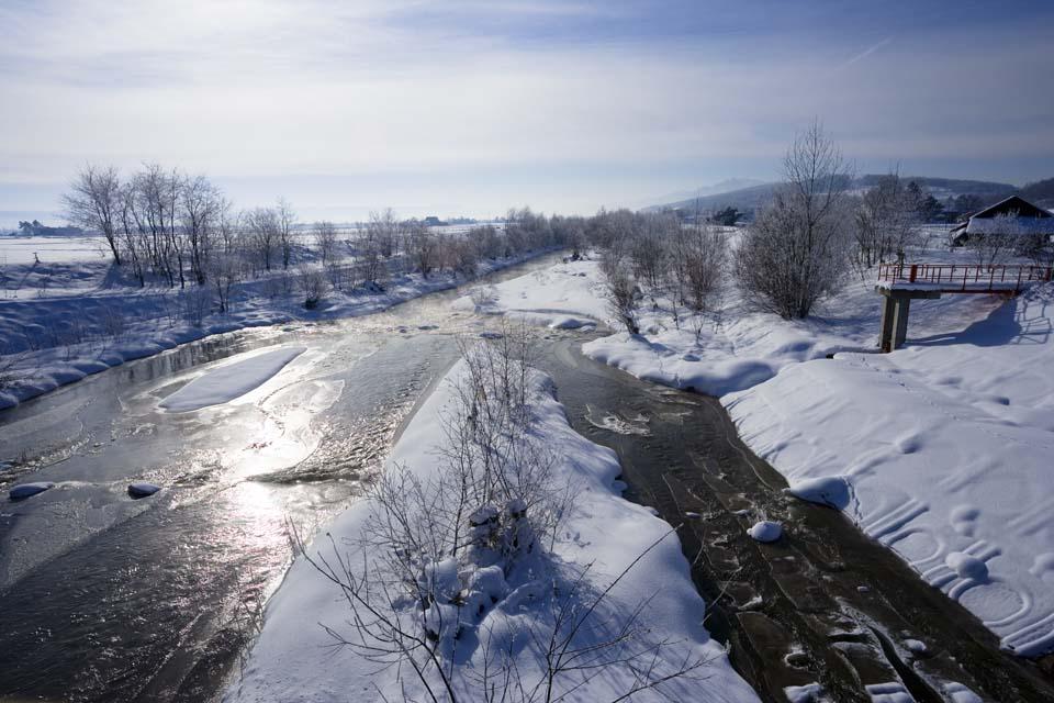 fotografia, material, livra, ajardine, imagine, proveja fotografia,O rio que pode ser gelado, rio, �gua, campo nevado, Est� nevado