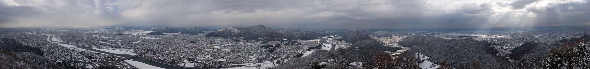 foto,tela,gratis,paisaje,fotografía,idea,Un panorama de Gifu, Está nevoso, El NagarRiver, Gifu, Pueblo