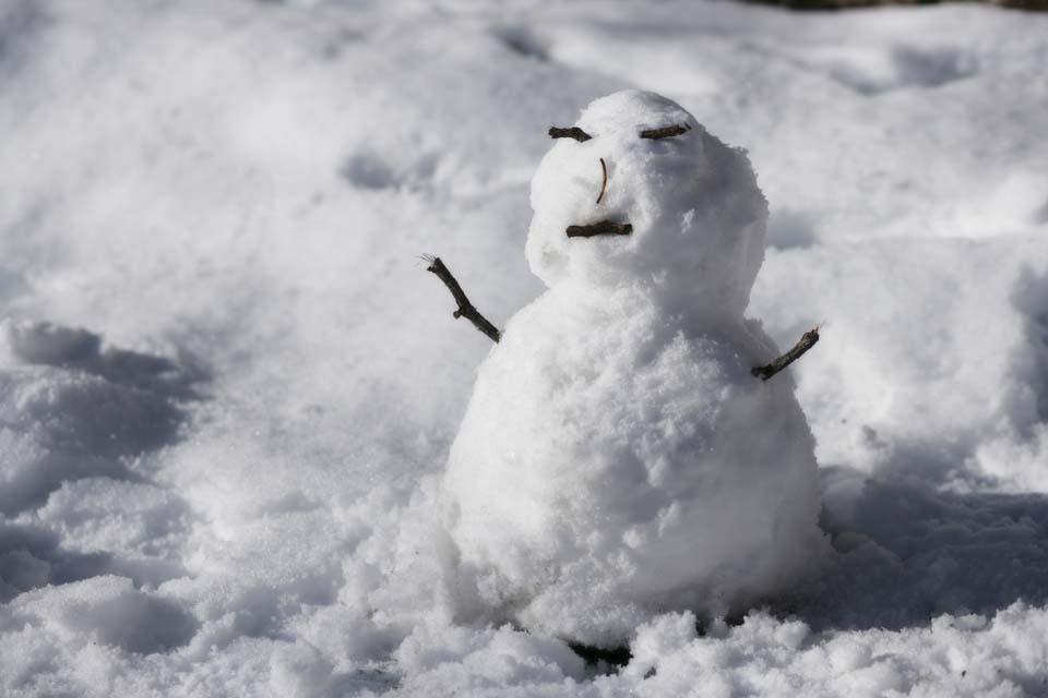 Foto, materieel, vrij, landschap, schilderstuk, bevoorraden foto,Blijheid van een sneeuwpop, Sneeuwpop, Sneeuwpop, Yuki Dharma pop, Besneeuwd veld