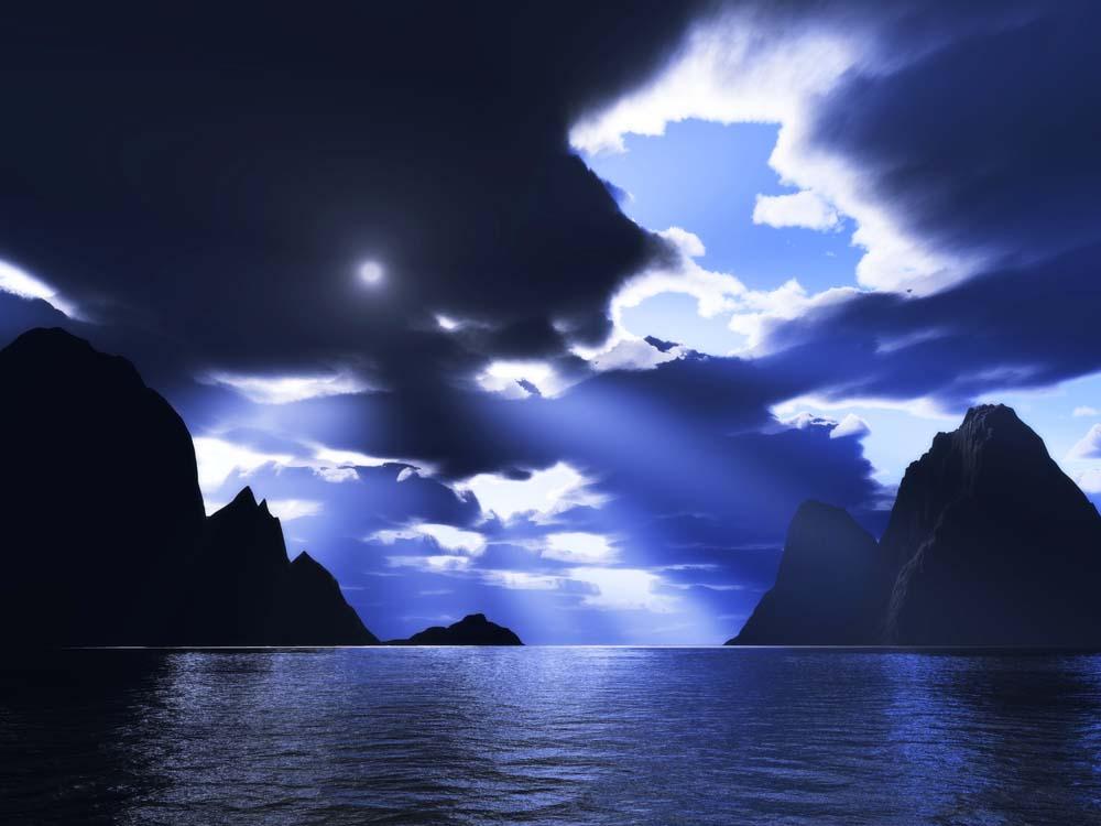 写真,素材,無料,フリー,フォト,クリエイティブ・コモンズ,風景,壁紙,光芒の海, 光芒, 雲, 渓谷, 海