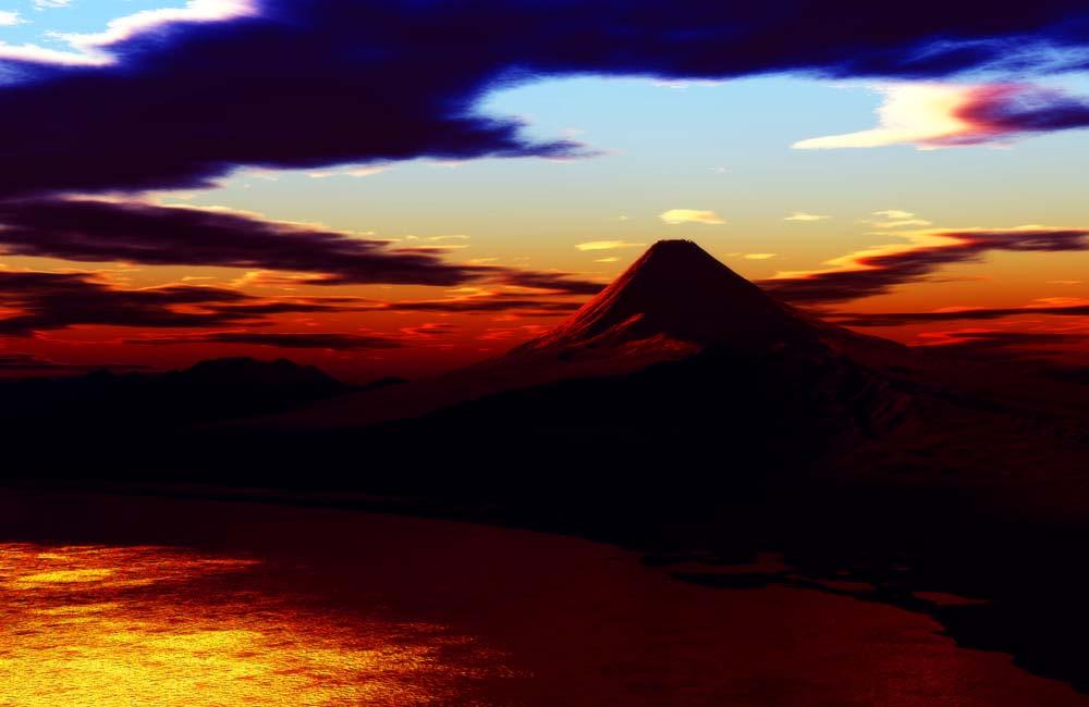写真,素材,無料,フリー,フォト,クリエイティブ・コモンズ,風景,壁紙,赤富士, 光芒, 雲, 富士, 海