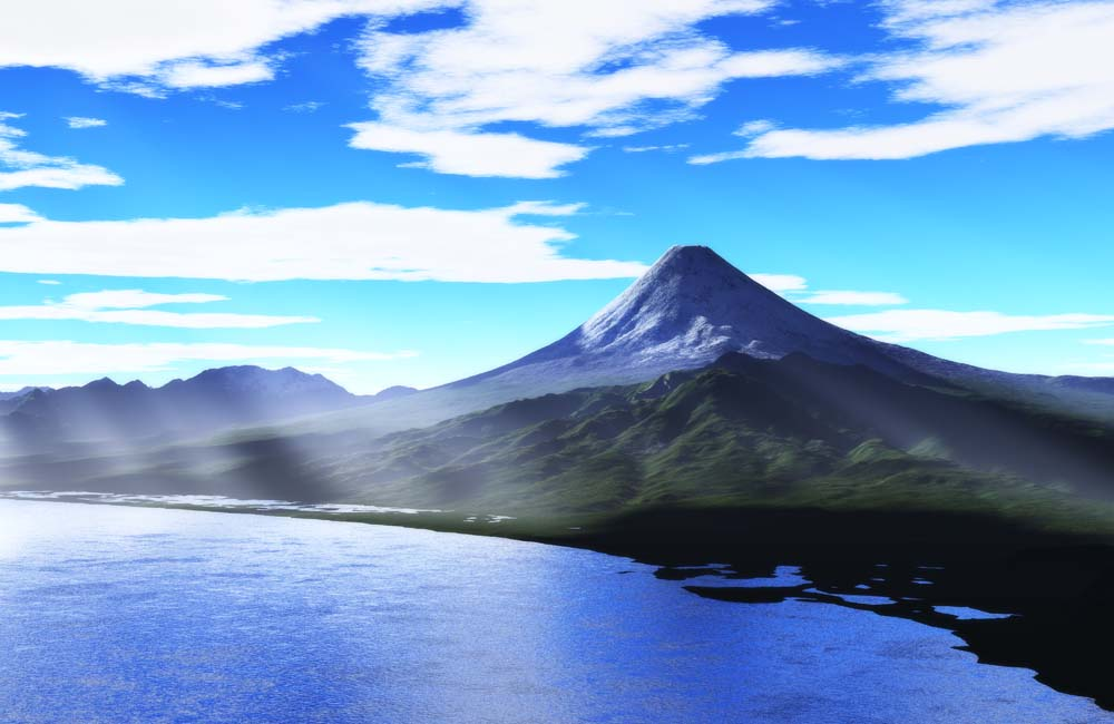 写真,素材,無料,フリー,フォト,クリエイティブ・コモンズ,風景,壁紙,5000m富士山, 光芒, 雲, 富士, 海