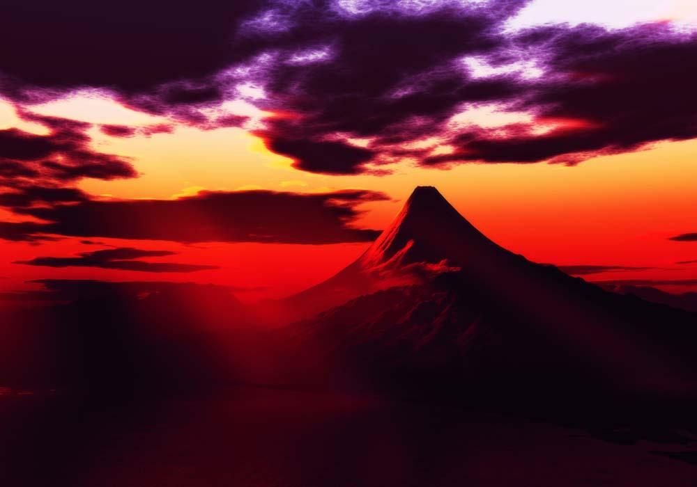 写真,素材,無料,フリー,フォト,クリエイティブ・コモンズ,風景,壁紙,鋭角富士山, 光芒, 雲, 富士, 海
