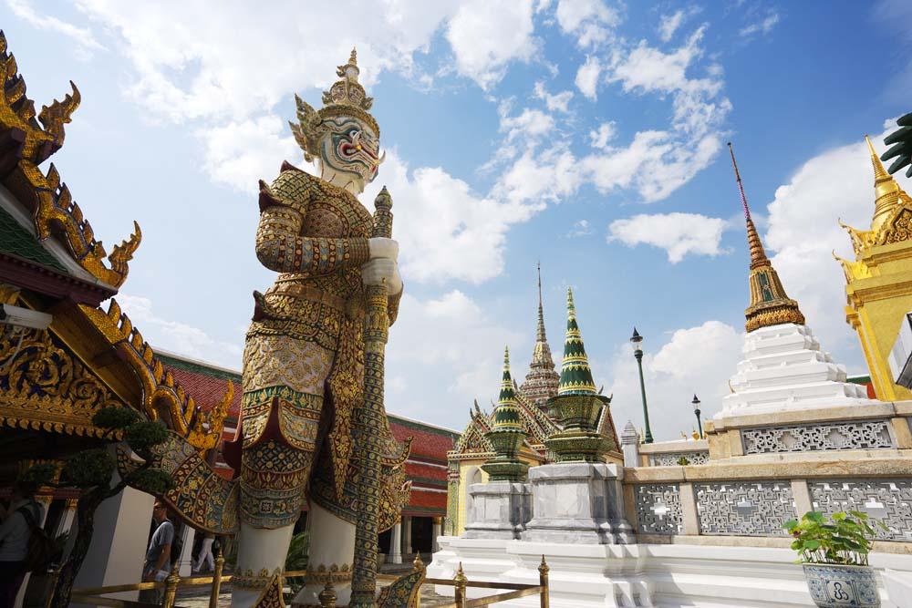 写真,素材,無料,フリー,フォト,クリエイティブ・コモンズ,風景,壁紙,タイの守護神, 金色, 仏, ワット・プラケーオ, 観光