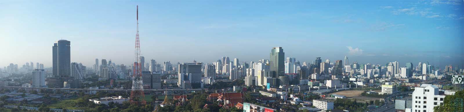 写真,素材,無料,フリー,フォト,クリエイティブ・コモンズ,風景,壁紙,バンコクの朝, ビル, ビルディング, 高速道路, バンコク