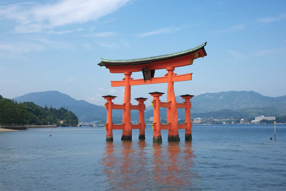 photo, la mati�re, libre, am�nage, d�crivez, photo de la r�serve,Otorii de temple Itsukushima-jinja, L'h�ritage culturel de Monde, Otorii, Temple shinto�ste, Je suis rouge du cinabre