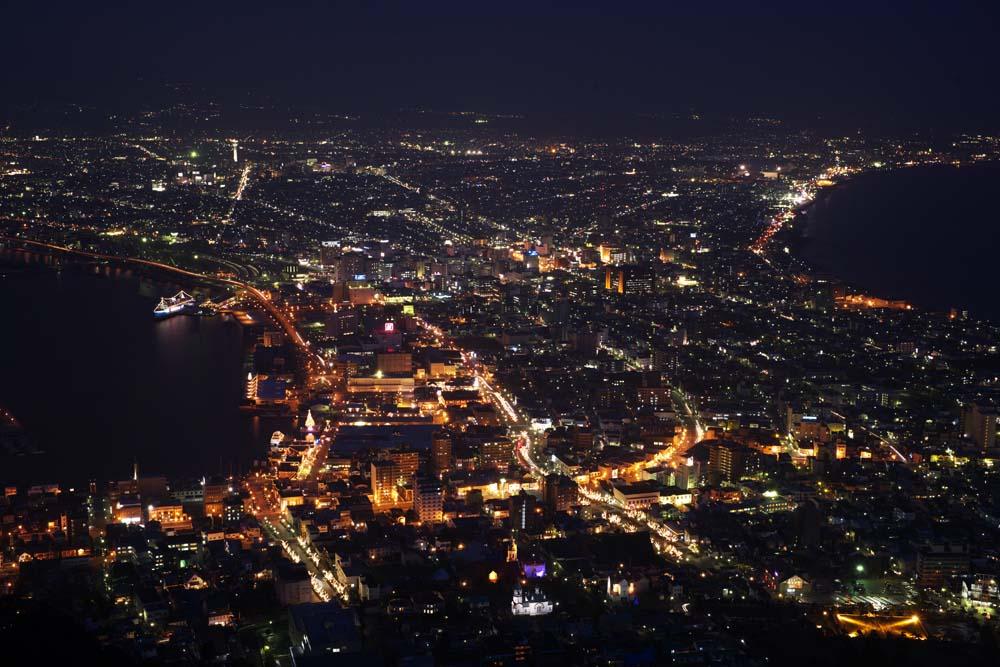 foto,tela,gratis,paisaje,fotograf�a,idea,Una vista de noche de monte. Hakodate - yama, Illuminations, Un observatorio, Luz de pueblo, Pueblo de puerto