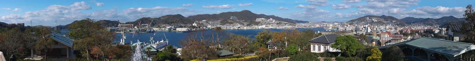 photo,material,free,landscape,picture,stock photo,Creative Commons,Nagasaki Port whole view, Nagasaki Port, crane, building, bridge