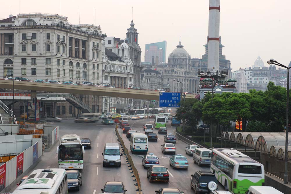 photo,material,free,landscape,picture,stock photo,Creative Commons,According to Shanghai, bus, taxi, Asphalt, The Y tongue