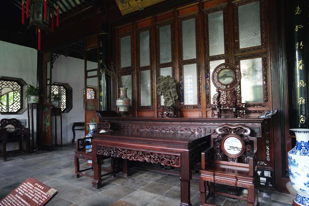 Foto, materiell, befreit, Landschaft, Bild, hat Foto auf Lager,Das Zimmer von 36 mandarinischem Entengebäude von Zhuozhengyuan, Stuhl, , Tisch, Garten