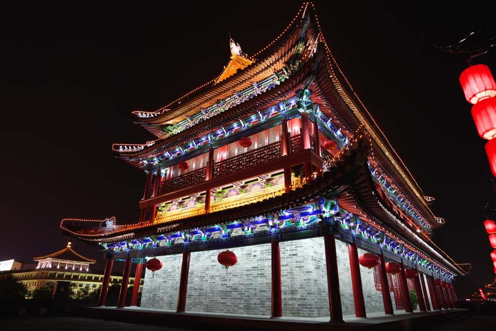 photo, la mati�re, libre, am�nage, d�crivez, photo de la r�serve,La porte Einei, Chang'an, porte de ch�teau, brique, Je l'�claire