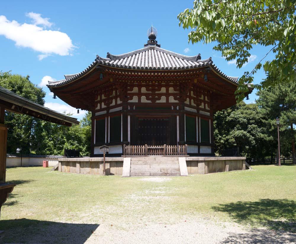 Foto, materieel, vrij, landschap, schilderstuk, bevoorraden foto,Kofuku-ji Tempel noord zeshoekig gebouw Togane tempel, Boeddhisme, Van hout gebouw, Dak, Wereld heritage