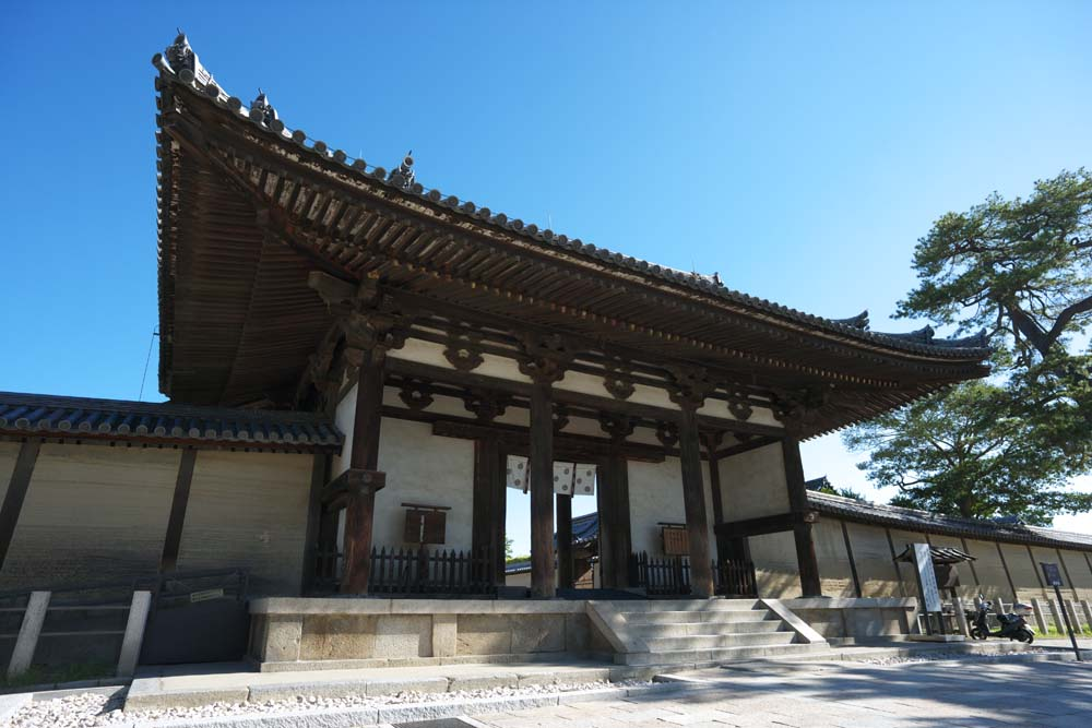 Foto, materieel, vrij, landschap, schilderstuk, bevoorraden foto,Horyu-ji Temple Namdaemun, Boeddhisme, Namdaemun, Dak, Tichel