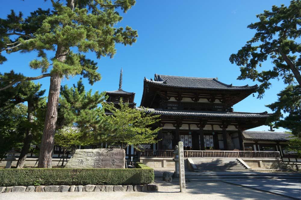Foto, materieel, vrij, landschap, schilderstuk, bevoorraden foto,Horyu-ji Tempel, Boeddhisme, Poort gebouwde tussen de hoofdschuif en het belangrijkste huis van de paleis-in model knipte architectuur in de Fujiwara tijdvak, Vijf Storeyed Pagoda, Boeddhist afbeelding