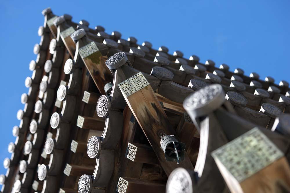 Foto, materieel, vrij, landschap, schilderstuk, bevoorraden foto,Kijken op Five Storeyed Pagoda op, Boeddhisme, Vijf Storeyed Pagoda, Van hout gebouw, Blauwe lucht