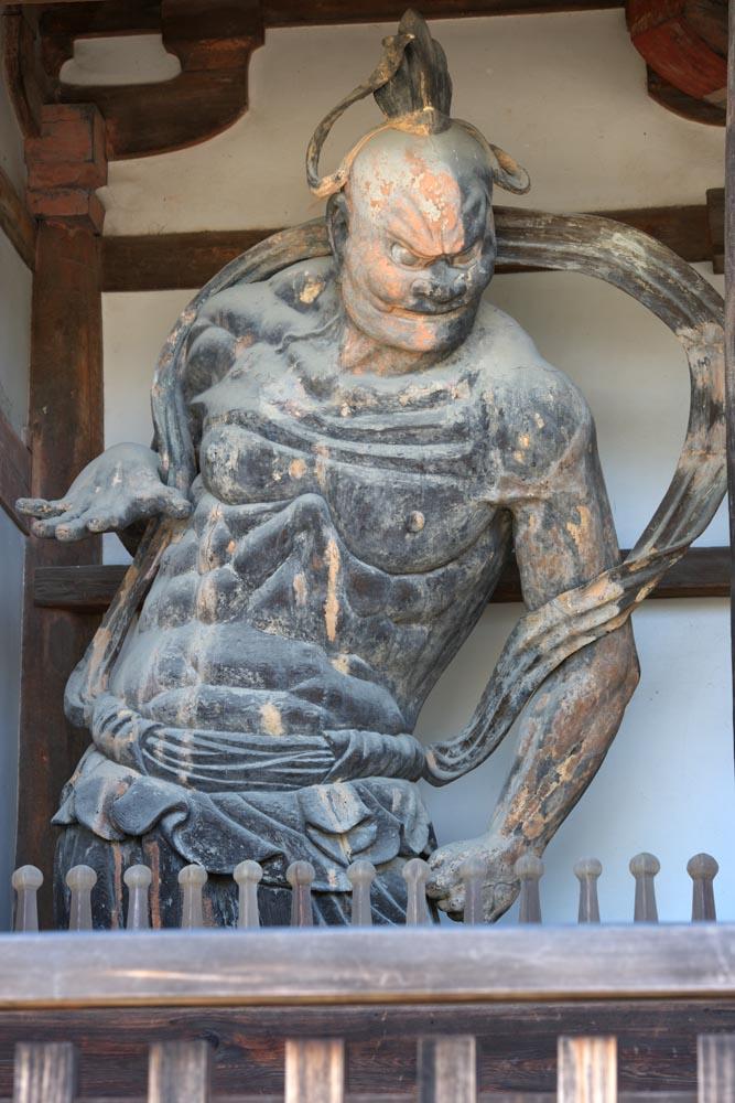 fotografia, materiale, libero il panorama, dipinga, fotografia di scorta,Il cancello di Tempio di Horyu-ji costru� tra il cancello principale e la casa principale dell'architettura palazzo-disegnata di periodo di Fujiwara Deva King (Ungyo)), Buddismo, Nio tutela immagine di divinit�, divinit� custode, Muscolosit�