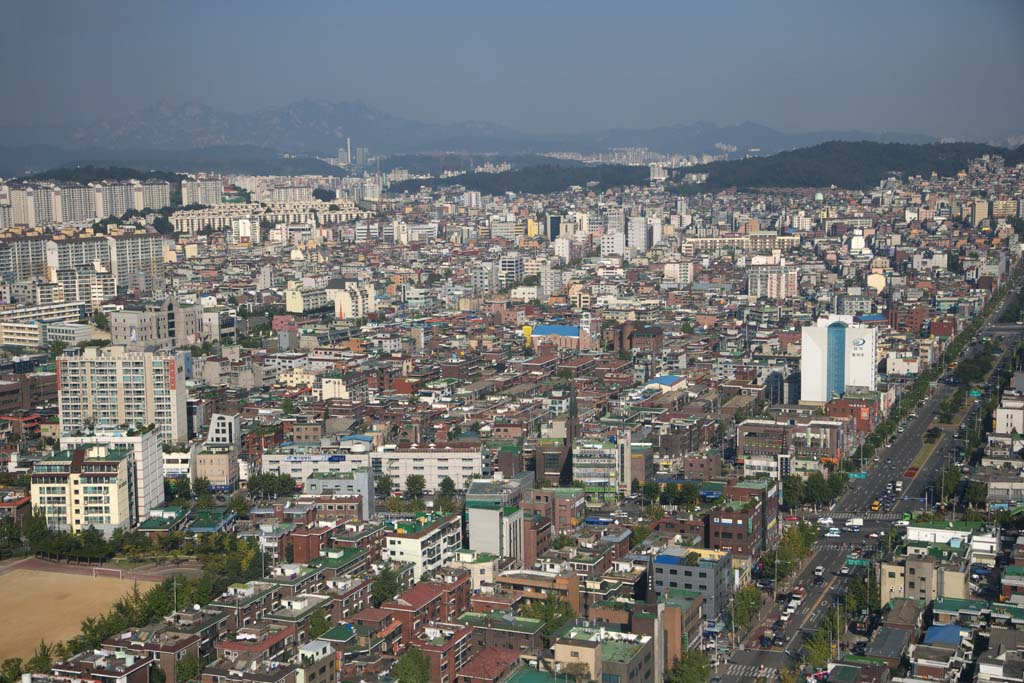 photo,material,free,landscape,picture,stock photo,Creative Commons,A residential area of Seoul, building, An aerial photograph, housing complex, house