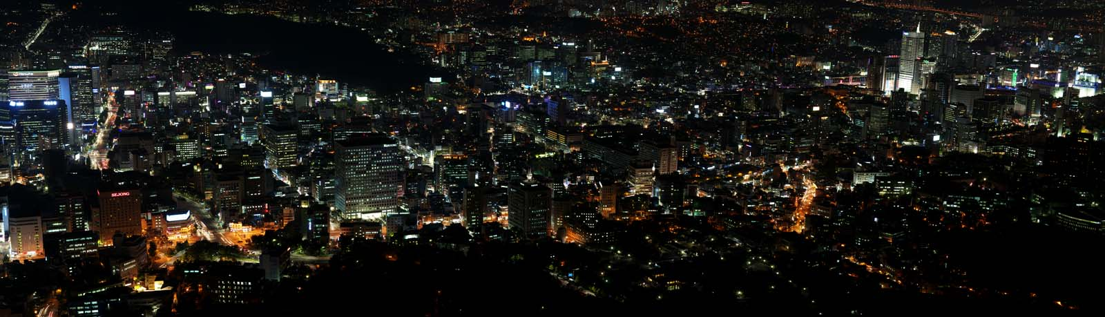 fotografia, material, livra, ajardine, imagine, proveja fotografia,Uma visão noturna de Seul, construindo, Néon, visão noturna, Iluminação