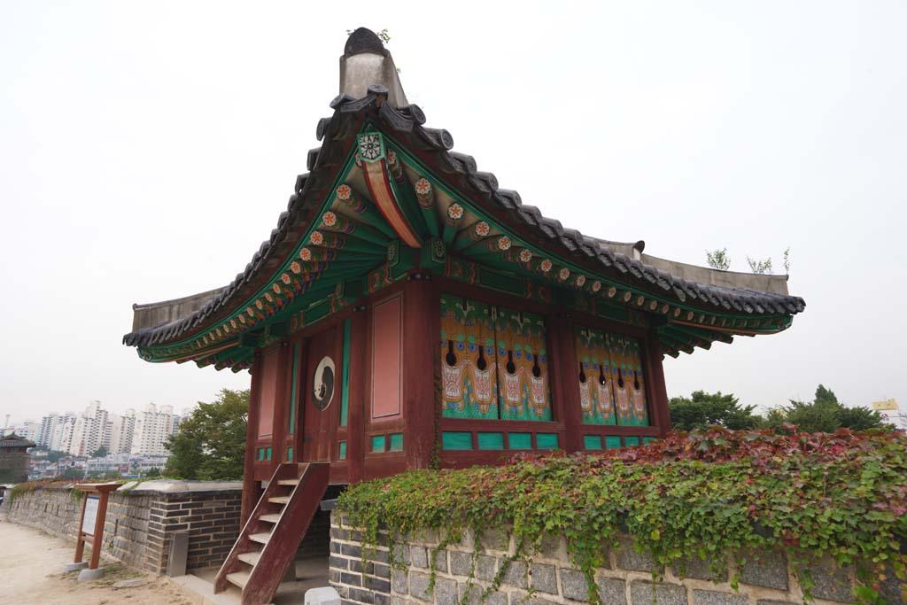 photo, la matière, libre, aménage, décrivez, photo de la réserve, SoPo-ru de forteresse Hwaseong, château, chaussée de pierre, carreau, mur de château