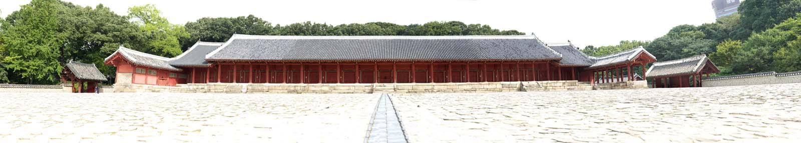 fotografia, material, livra, ajardine, imagine, proveja fotografia,Tadashi do mausoléu ancestral da Família Imperial, Santuário de Jongmyo, Religiosos consertam, Primeiro o imperador, o Templo Ancestral Imperial