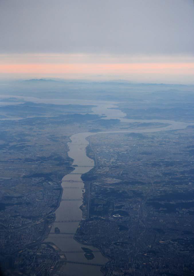 foto,tela,gratis,paisaje,fotografía,idea,Anochecer de los hans, Corea del Norte, Puente, Río grande, De noche