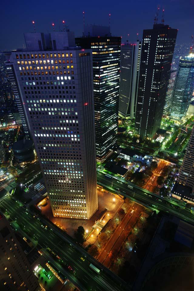 foto,tela,gratis,paisaje,fotografía,idea,Shinjuku por la noche, Torre, Subcenter, Gobierno metropolitano de Tokyo, Edificio