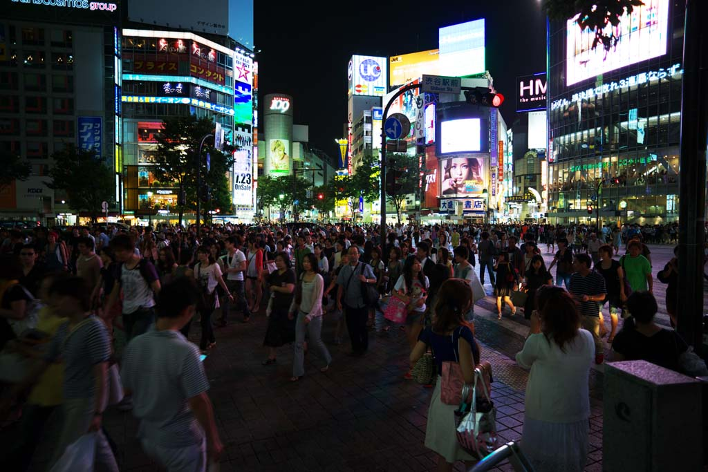 photo, la matière, libre, aménage, décrivez, photo de la réserve,La nuit de Poste Shibuya, En ville, marcheur, Illumination, foule