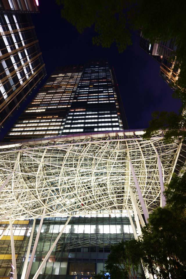 photo, la matière, libre, aménage, décrivez, photo de la réserve,La nuit du midtown de Tokyo, En ville, bâtiment de tour, Verre, Un immeuble de bureaux
