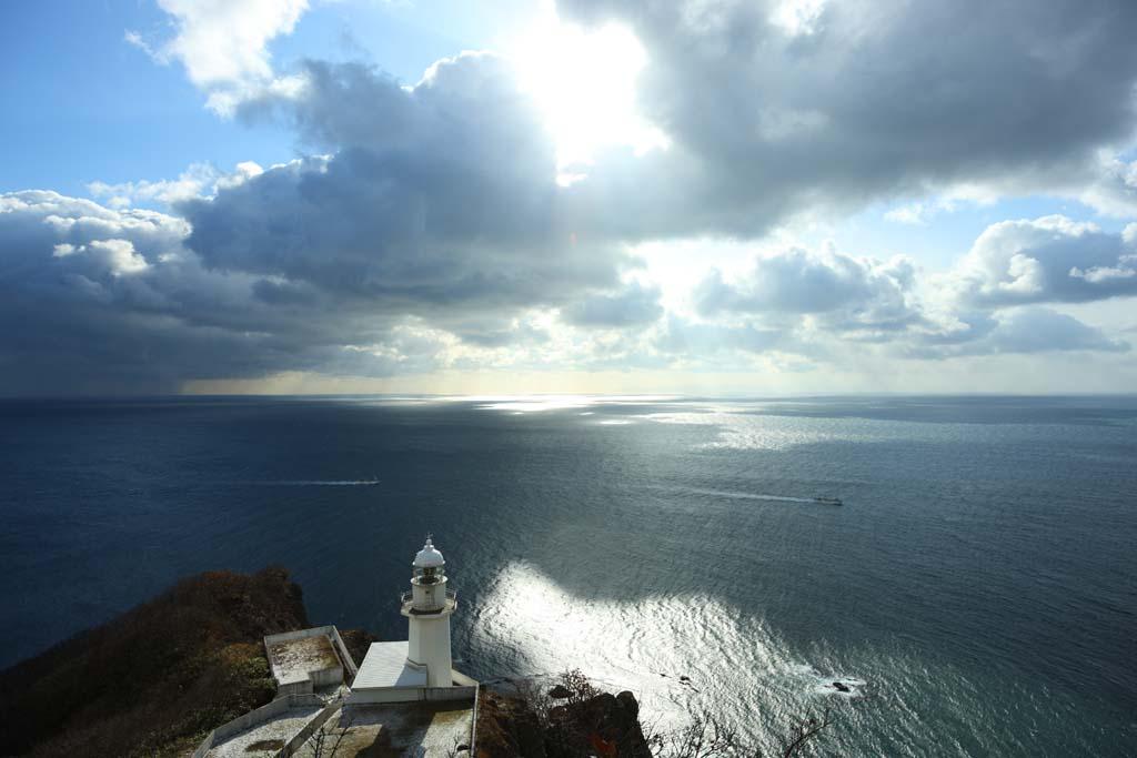 fotografia, materiale, libero il panorama, dipinga, fotografia di scorta,Il Promontorio di terra, faro, cielo blu, mare, L'orizzonte